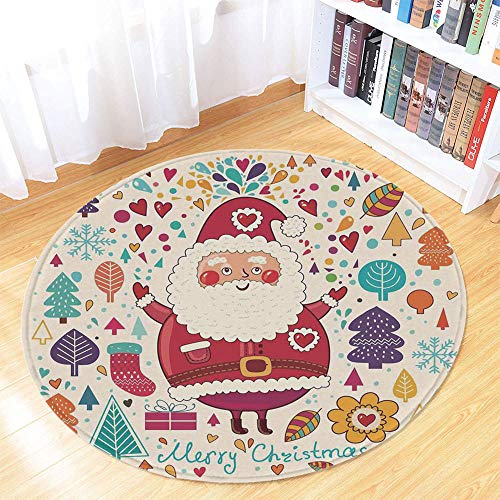 Christmas Decorations Short Fur Round Mat,Jolly Santa Theme Vintage Style New Year Tree Leaves Hearts Autumn Color for Home Meeting Room,35.43