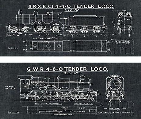 Amazon train blueprint ii iii set in black 20x8 art print train blueprint ii iii set in black 20x8 art print poster locomotive illustration malvernweather Gallery