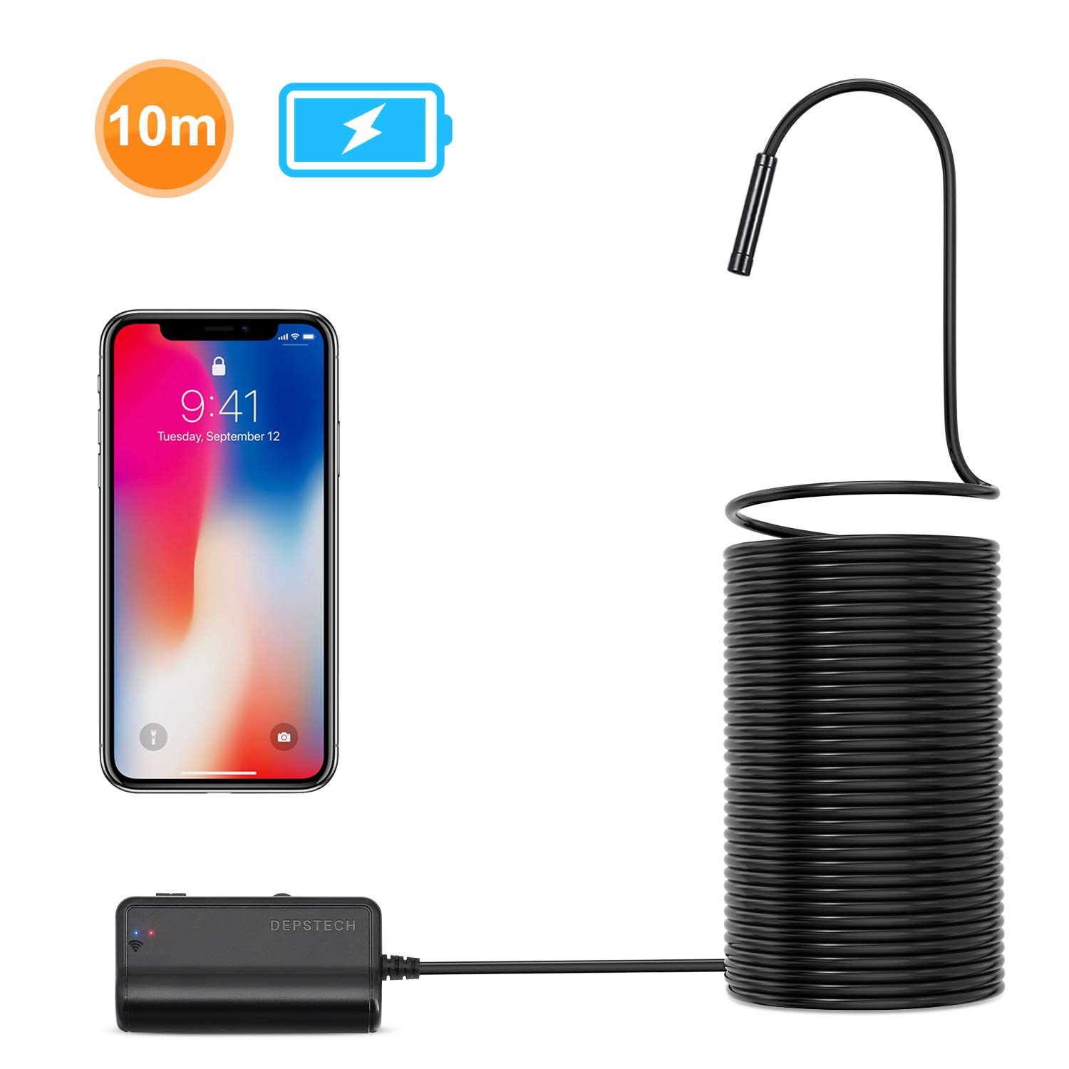 Depstech 1200P Semi-Rigid Wireless Endoscope, 2.0 MP HD WiFi Borescope Inspection Camera,16 inch Focal Distance & 2200mAh Battery Snake Camera for Android & iOS Smartphone Tablet - Black 33FT by DEPSTECH (Image #1)