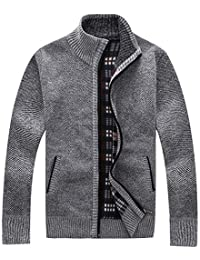 Men's Casual Thick Knitted Cardigan Sweater Full Zip Utility Pocket
