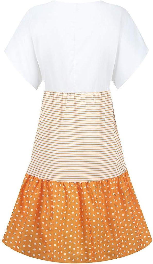Ladies V-Neck Short Sleeve Patchwork Tunic Dress Plus Size Blouse Boho Beach Tops Women Casual Loose Dresses