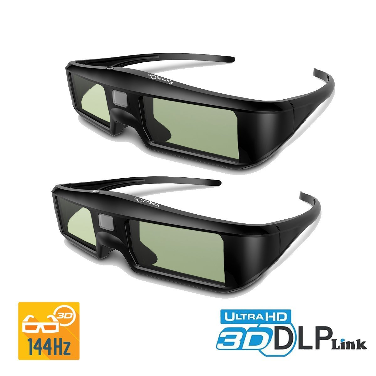 ExquizOn 2 Packs Ultra-Clear HD 96-144Hz DLP LINK 3D Active Rechargeable Shutter Glasses for All 3D DLP Projectors BenQ, Optoma, Dell, Mitsubishi, Samsung, Acer, Vivitek, NEC, Sharp, ViewSonic & Endle