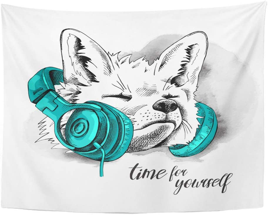 Emvency Tapestry Polyester Fabric Print Home Decor Cool Fox in Green Headphones Neck Animal Audio Wall Hanging Tapestry for Living Room Bedroom Dorm 60x80 Inches