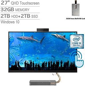 "2020 Lenovo IdeaCentre A540 27"" QHD IPS Touch All-in-One Desktop Computer, Intel Core i5-9400T, 32GB RAM, 2TB HDD+2TB SSD, Intel UHD Graphics 630, Dolby Audio, HD Webcam, Win 10, Grey, 32GB USB Card"