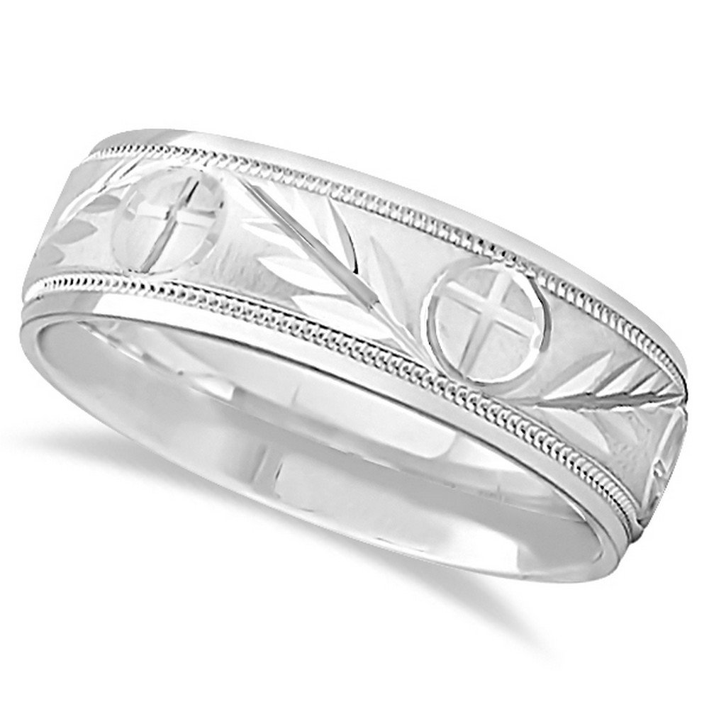 Glass Bead Finish Carved Cross and Leaf Ring Wedding Band For Men in Platinum (7mm)
