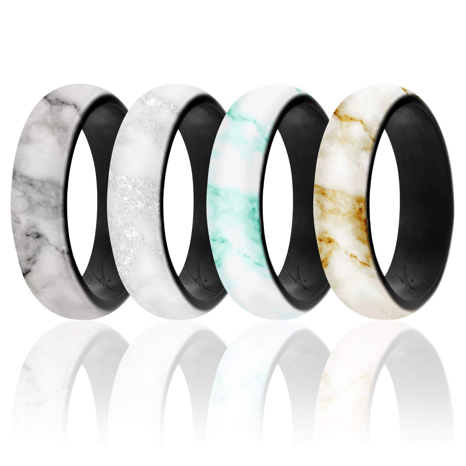 Marble Dome Style Affordable 4 Pack of Silicone Rubber Rings Metallic ROQ Silicone Wedding Ring for Women 2 Colors Flexible Safe Glitter Light with Classic Design Matte