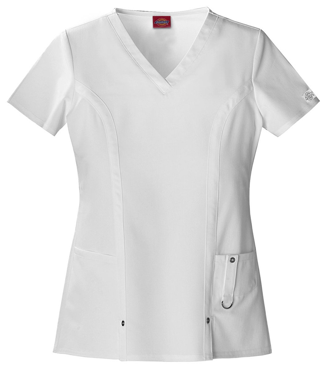 Dickies Women's Classic V-Neck Top_White_XXX-Large,82851