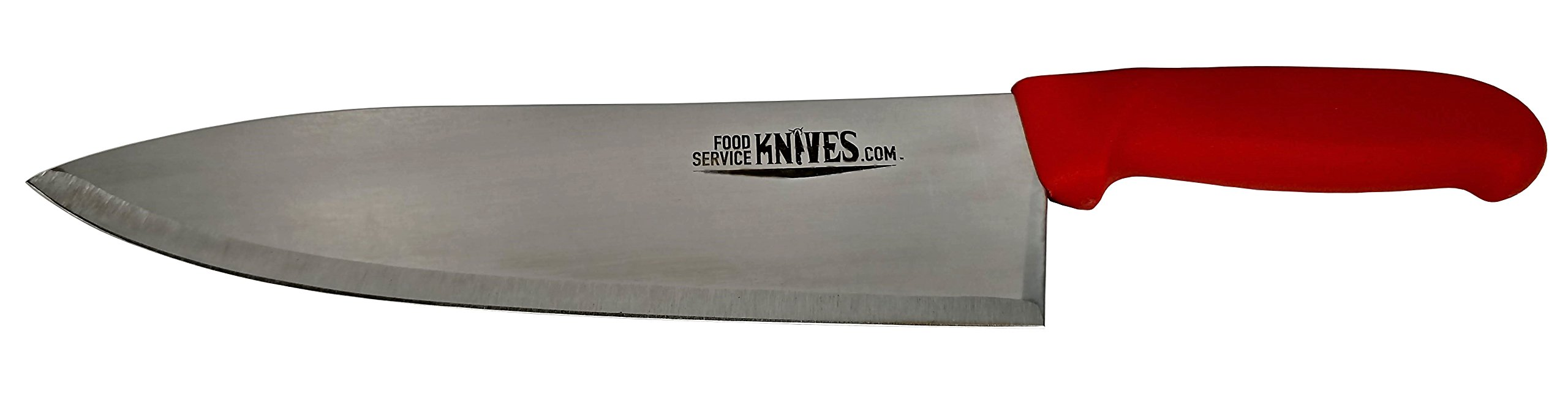 "Food Service Knives 10"" Professional Restaurant Chef Knife - Red - Color Coded for Safety - Choose Black, Blue, Red, Green, or Yellow - Cook French Stainless Steel New Sharp (Red)"