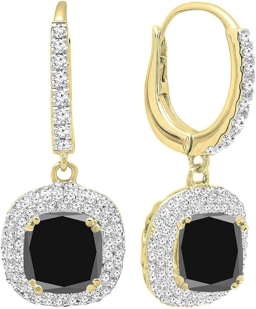 DazzlingRock Collection Oro Amarillo de 14 k de 6 MM Cada una de Piedras Preciosas de cojín y Pendientes de Gota Redondas de halo de Diamantes de Mujer Diamante Negro