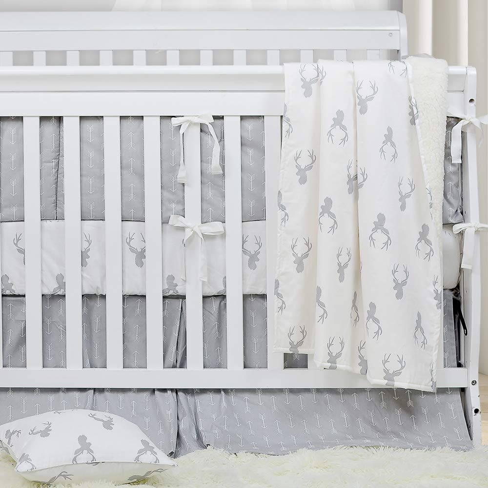 Brandream Crib Bedding Sets Neutral Baby Boy Girl Nursery Crib Bedding Woodland Arrow Deer Head Pattern White Gray Grey, 3 Pieces by Brandream