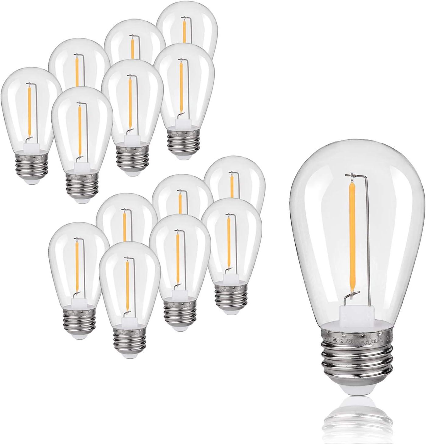 EMITTING Shatterproof /& Waterproof S14 Replacement LED Filament Light Bulbs