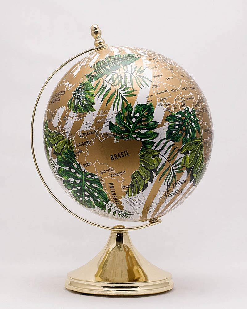 10 inches Deluxe Design Handcrafted Rotating World Earth Globe Perfect for Home Office Decoration Gift (Botanic Gold Base)
