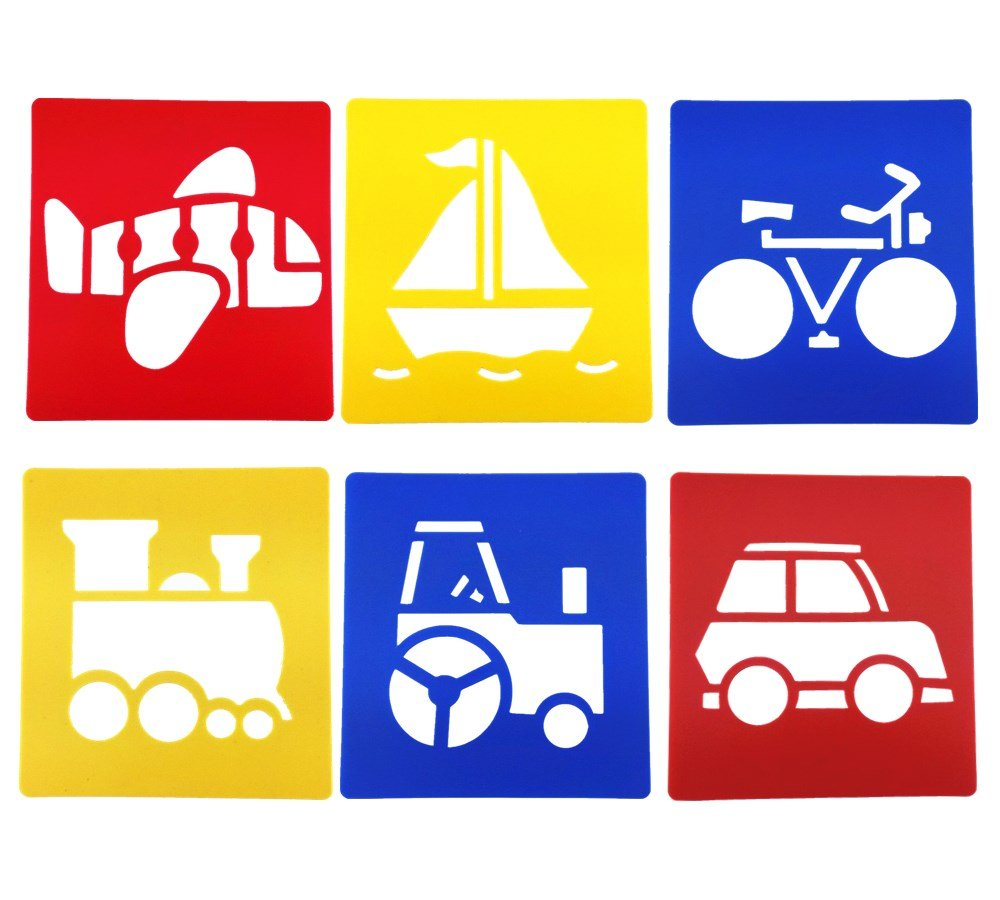 yueton Pack of 6 Assorted Color Traffic System Vehicle Drawing Painting Stencils Templates for Kid Craft, School Project