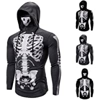 S-Chihir Elastic Fitness Mens Hoodie Face Mask Cycling Hoodies With Skull Face Mask Suit Hooded Men Fake Two Cyberpunk…