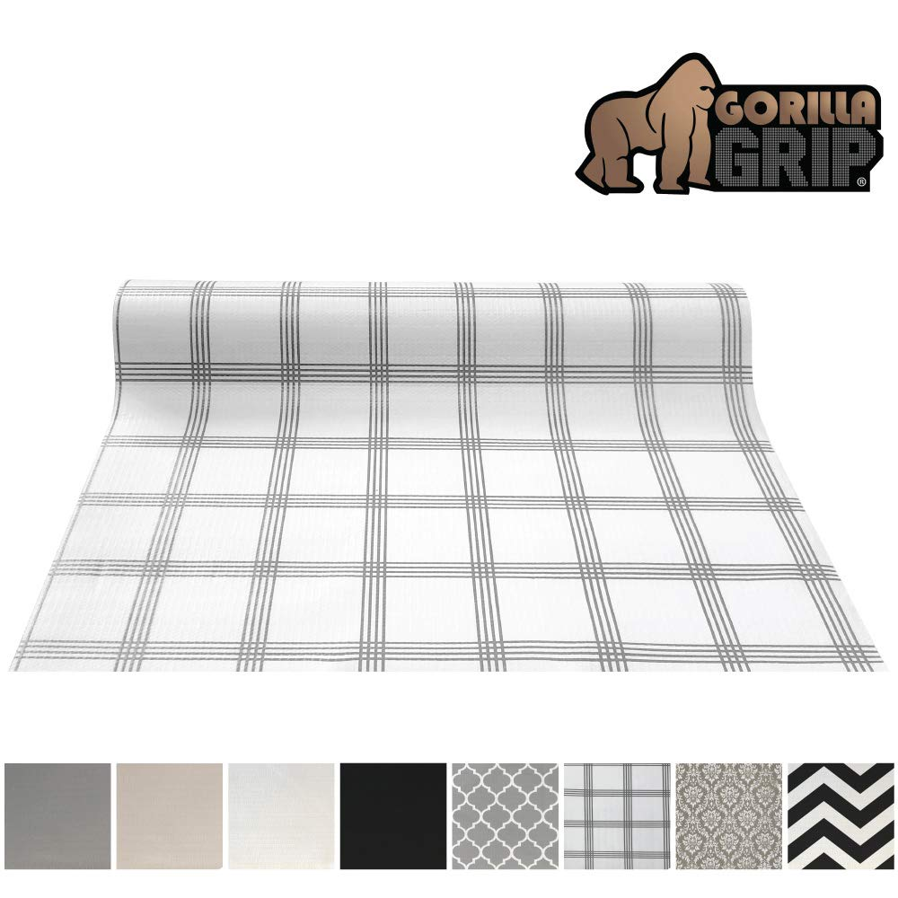 Gorilla Grip Original Smooth Top Slip-Resistant Drawer and Shelf Liner, Non Adhesive Roll, 17.5 Inch x 20 FT, Durable Kitchen Cabinet Shelves Liners for Kitchens Drawers and Desks, Stripe Gray White by Gorilla Grip