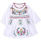 Kashoer Newborn Toddler Baby Girls Ethnic Embroidery Floral Dress Long Sleeve Party Sundress Skirt