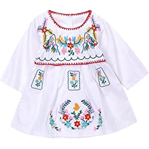 a0d9cc59fe Newborn Toddler Baby Girls Ethnic Embroidery Floral Dress Long Sleeve Party  Sundress Skirt