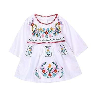 730d07b605f Newborn Toddler Baby Girls Ethnic Embroidery Floral Dress Long Sleeve Party  Sundress Skirt (0-