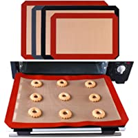 "Non-Stick Reusable Food-Safe Silicone Fiberglass Baking Mat for Cookies, Macarons, Pastry, Bread Making (11.81"" x8.27"", Red)"