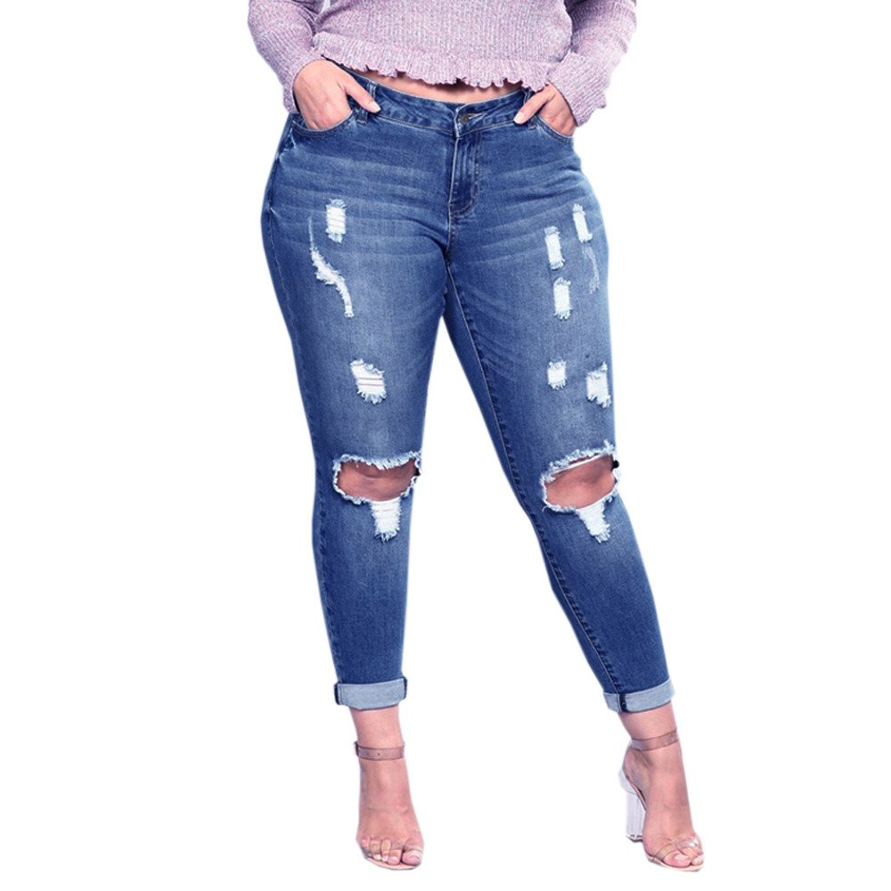 a00ae965306 Theshy Jeans Women Plus Size Ripped Stretch Slim Denim Skinny Jeans Pants  High Waist Trousers