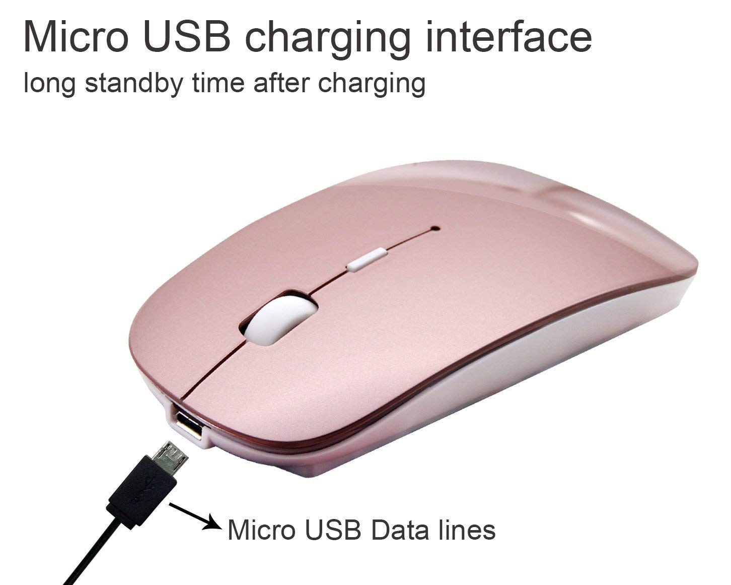 Bluetooth Mouse Wireless Mouse Mobile Mouse Optical Mouse Charging Mouse Applies for Notebook, PC, Laptop, Computer,Windows/Android Tablet, iMac Macbook Air/Pro(Rose Gold) by Bianco (Image #3)