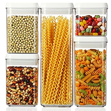 Set of 5 - Airtight Plastic Storage Canister Set, Food Saver Container w/ Vacuum Seal Locking Lid
