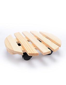 LB Bandeja móvil de madera Soporte de flor de madera maciza Soporte Base Puede mover la rueda con freno Interior Flower Rack Estantería para macetas (Color ...