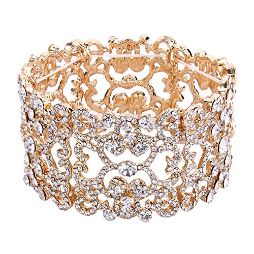 - EVER FAITH Women's Austrian Crystal Bride Heart Art Deco Elastic Stretch Bracelet Clear Gold-Tone