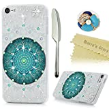 Touch 6 Case,iPod Touch 6th Generation Case - Mavis's Diary 3D Handmade Bling Crystal Shiny Rhinestone Diaonds Snowflake Blue Flower Trees Pattern Hard PC Cover Clear Case with Dust Plug & Stylus