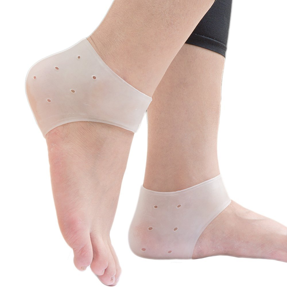 WJkuku Gel Plantar Fasciitis- Heel Protector Heel Cups Heel Pads Soft Socks For Hard, Cracked, Dry Skin, Relieve Foot Pain for Moisturizing Protector (2 Pairs/4Pcs) (White) Luckyjj