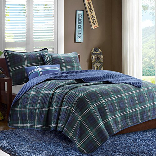 Mi-Zone Brody Full/Queen Size Teen Boys Quilt Bedding Set - Blue, Green, Plaid – 4 Piece Boys Bedding Quilt Coverlets – Peach Skin Fabric Bed Quilts Quilted Coverlet