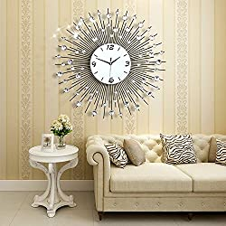 NEOTEND 3D Wall Clock 64pcs Diamonds Decorative Clock Diameter 25.6