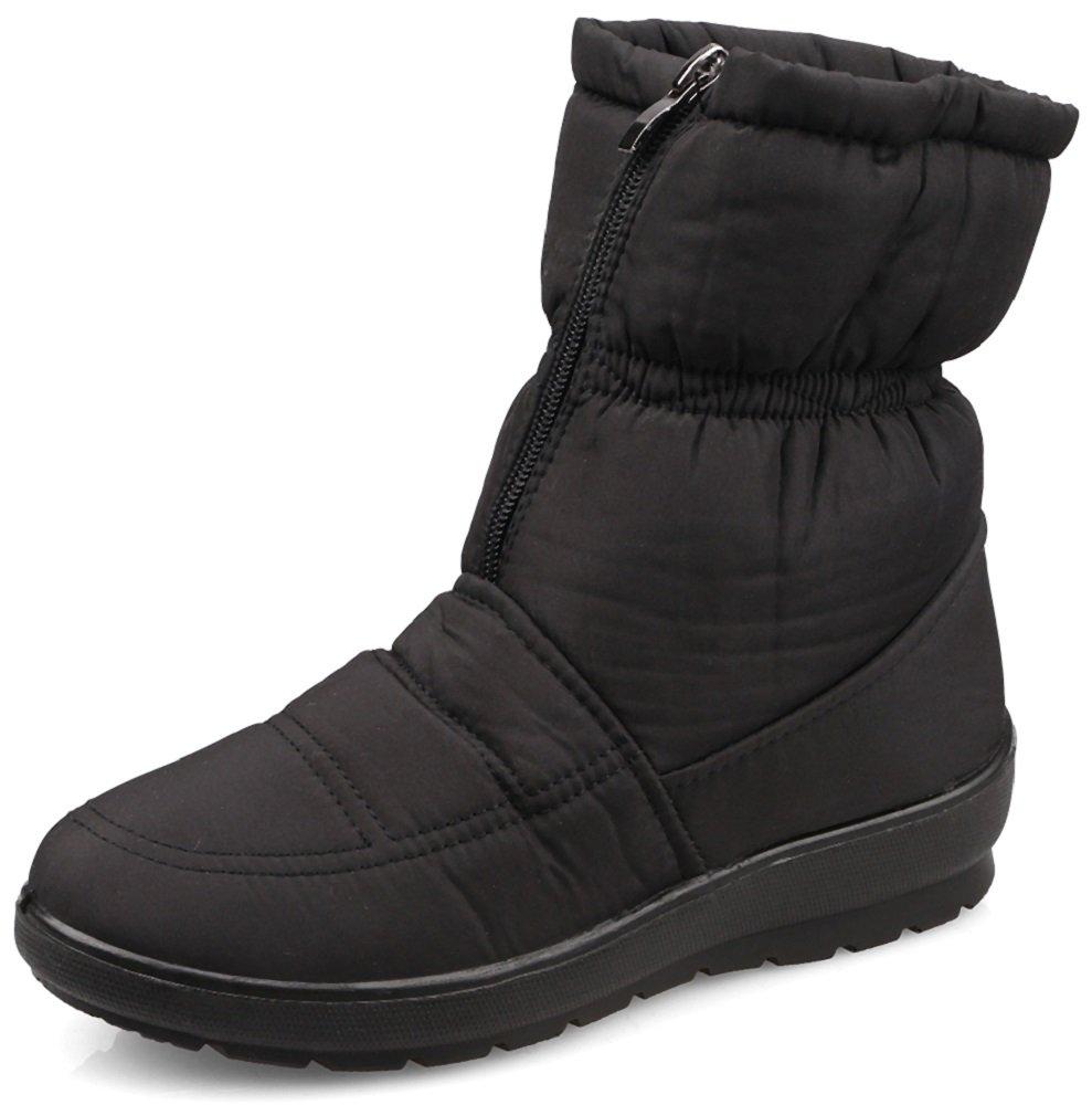 MOSHU Women's Faux Fur Winter Snow Boots Zipper Front Waterproof Antiskid Ankle Booties 9 Black