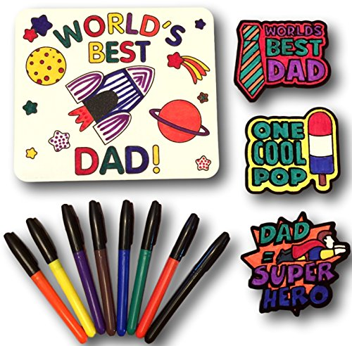 Father's Day Gift for Dad - Bundle includes everything you need to complete - Mouse Pad, 3 Magnets and set of 8 Permanent Markers