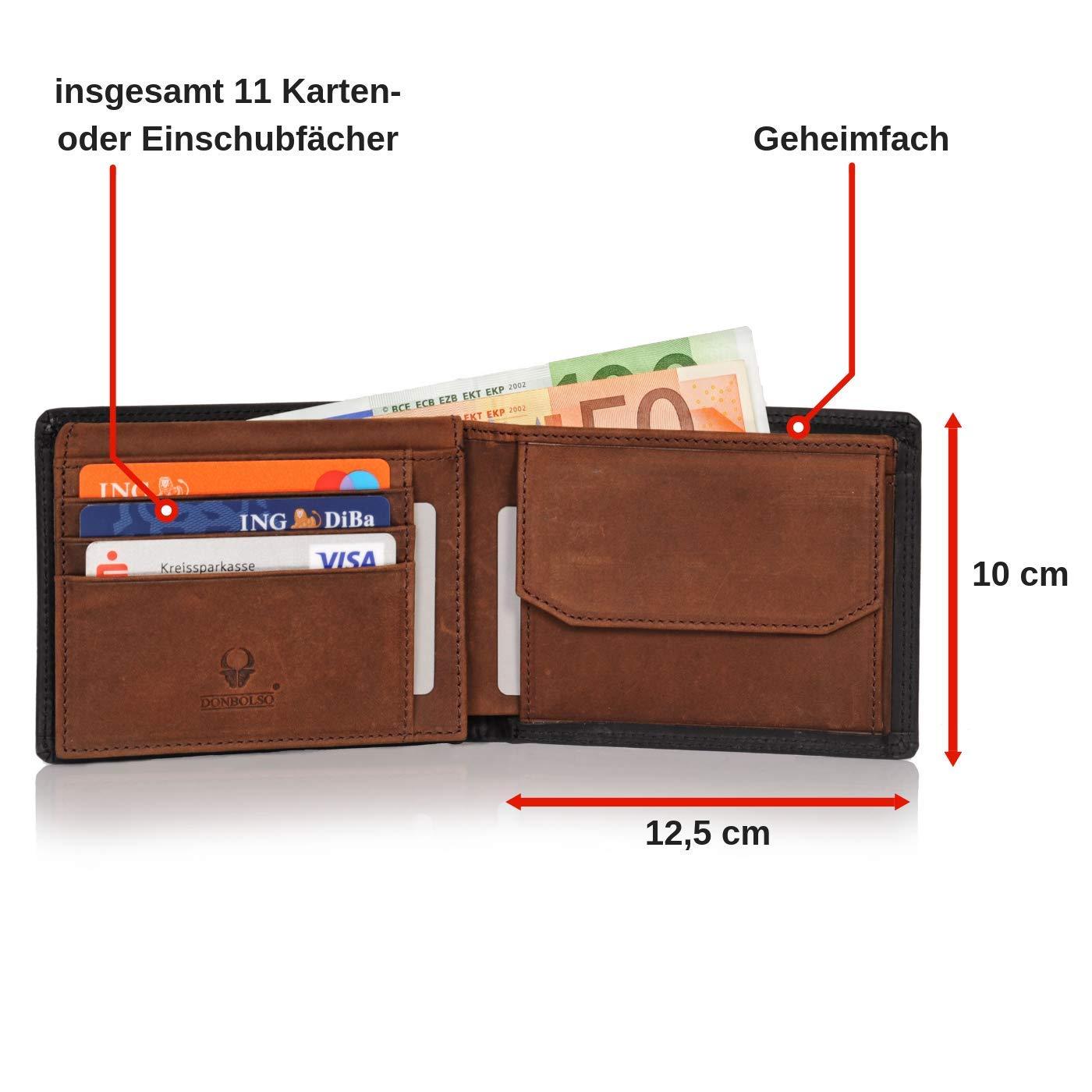 9c9c317a6676d Donbolso Geldbörse Berlin Leder Herren - Geldbeutel schwarz braun -  Portemonnaie für Männer mit RFID Schutz - Echtleder Portmonee  Amazon.de   Koffer