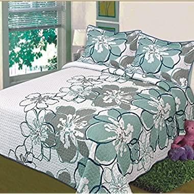 Fancy Collection 3 Pc Bedspread Bed Cover White Grey Green Floral (Queen)