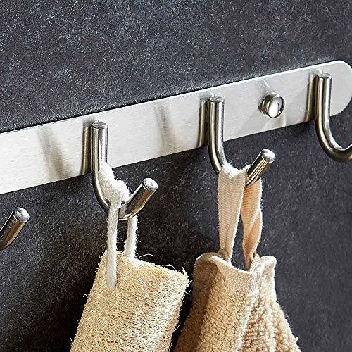 60%OFF Mellewell Towel Hook Rail Coat Rack 10.7 inches with 4 Heavy Duty Hooks, Stainless Steel Brushed Finish, 08001HK04