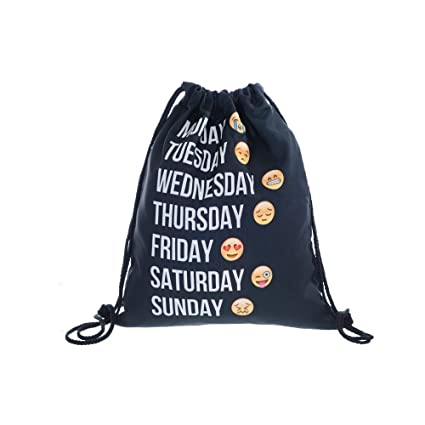 52559b39cec Image Unavailable. Image not available for. Color  3d Print Drawstring  Backpack Emoji Funny Shoulder Bags Gym Bags for Kids 15 quot x11 quot