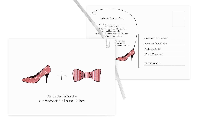 Ballonkarte High Heel und Fliege, 100 Karten, HellRot B07CQP5W9N   Beliebte Empfehlung    Eleganter Stil    Spielzeug mit kindlichen Herzen herstellen