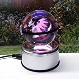 3D Crystal Ball Fancy LED Lighting and Spinning Primary Base Advance 3D Laser Engraving Valentine Children's Gift (Charizard)