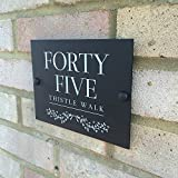 Modern House Sign Personalised For Your Door and Home | Unique Matt black or white acrylic perspex address yard street plaque | Beautiful traditional digitally UV printed panel, any digits, number and/or text not cheap vinyl | Made in the UK | Weatherproof house name plate | Fully personalized custom front door number signage | Stylish design can be used for businesses | Fixings included | Fast delivery | Choose from a selection of fonts (Black)