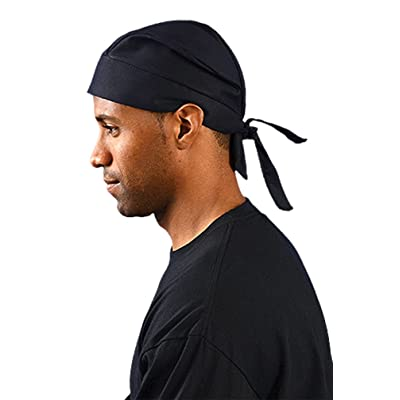2PCK-Tie Hat Doo Rag W/ FR Treatment - BLACK-One-Size