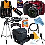Nikon COOLPIX B500 Wi-Fi, NFC Digital Camera w/40x Zoom & HD Video (Red) + 4 AA Batteries with Charger + 10pc - 32GB + DigitalAndMore FREE Deluxe Accessory Kit