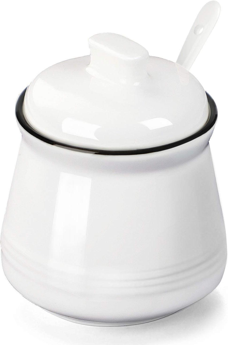 Porcelain Salt Bowl with Lid and Spoon,Ceramic Sugar Bowl 12oz ,White