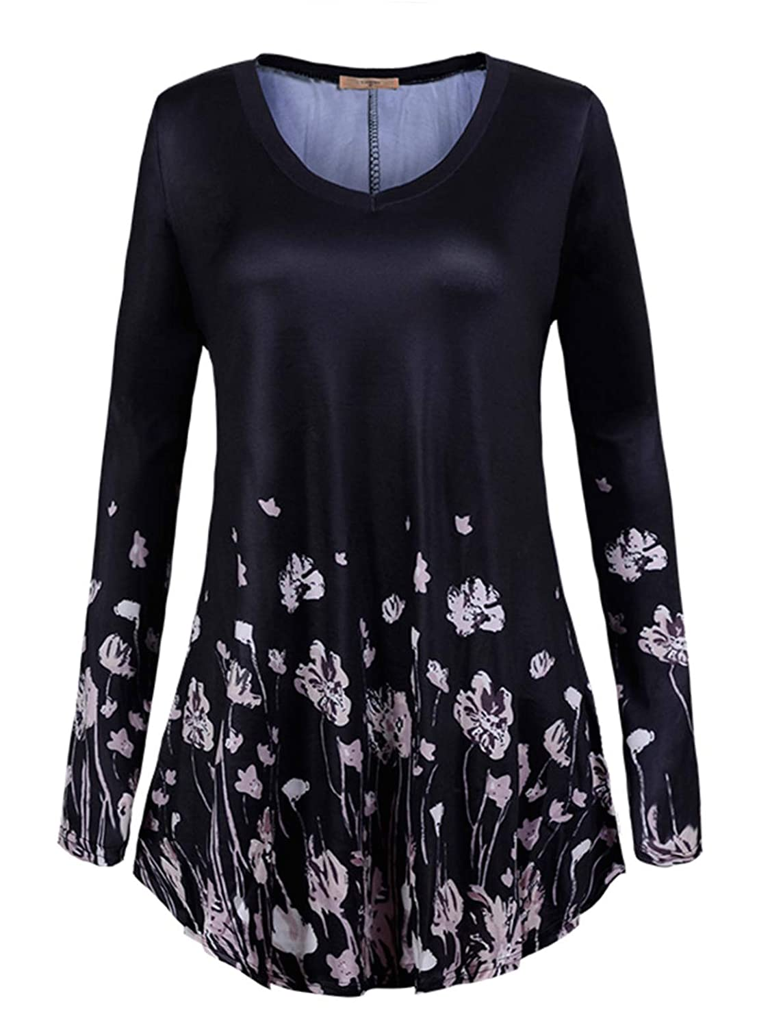 a1158fb3ad163 Top4: Luranee Womens Long Sleeve Tunic Tops V Neck Flowy Pleated Blouses  (FBA Only)