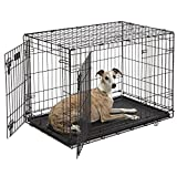 Dog Crate | MidWest iCrate 36″ Double Door Folding Metal Dog Crate w/ Divider Panel, Floor Protecting Feet & Leak-Proof Dog Tray | 36L x 23W x 25H Inches, Intermediate Dog Breed, Black