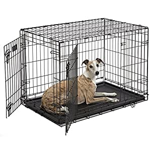 """Dog Crate   MidWest iCrate 36"""" Double Door Folding Metal Dog Crate w/Divider Panel, Floor Protecting Feet & Leak-Proof Dog Tray   36L x 23W x 25H Inches, Intermediate Dog Breed, Black"""