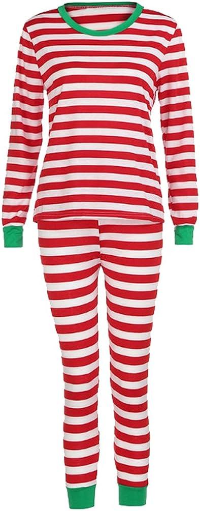 Pijamas de Navidad Familia Pijamas Parejas Navideñas Adultos Pijama Familiares Manga Larga Hombre Mujer Trajes Navideños para Mujeres Ropa de Noche Rayas Homewear