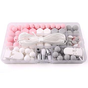 baby tete Cuentas de silicona chupete clip accesorios perlas de bricolaje conjunto dentición joyas hecho a mano chupete clip perlas de silicona bebé ...