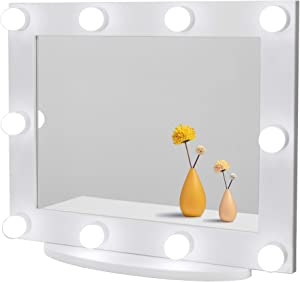 Waneway Hollywood Vanity Mirror with Lights, Large Lighted Makeup Mirror for Dressing Room & Bedroom, Light-up Dressing Table Cosmetic Mirror, Multiple Color Modes, Tabletop or Wall Mount, White